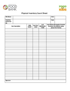 2fa176d6d97 Physical Inventory Count Sheet-BLANK - Arkansas Foodbank