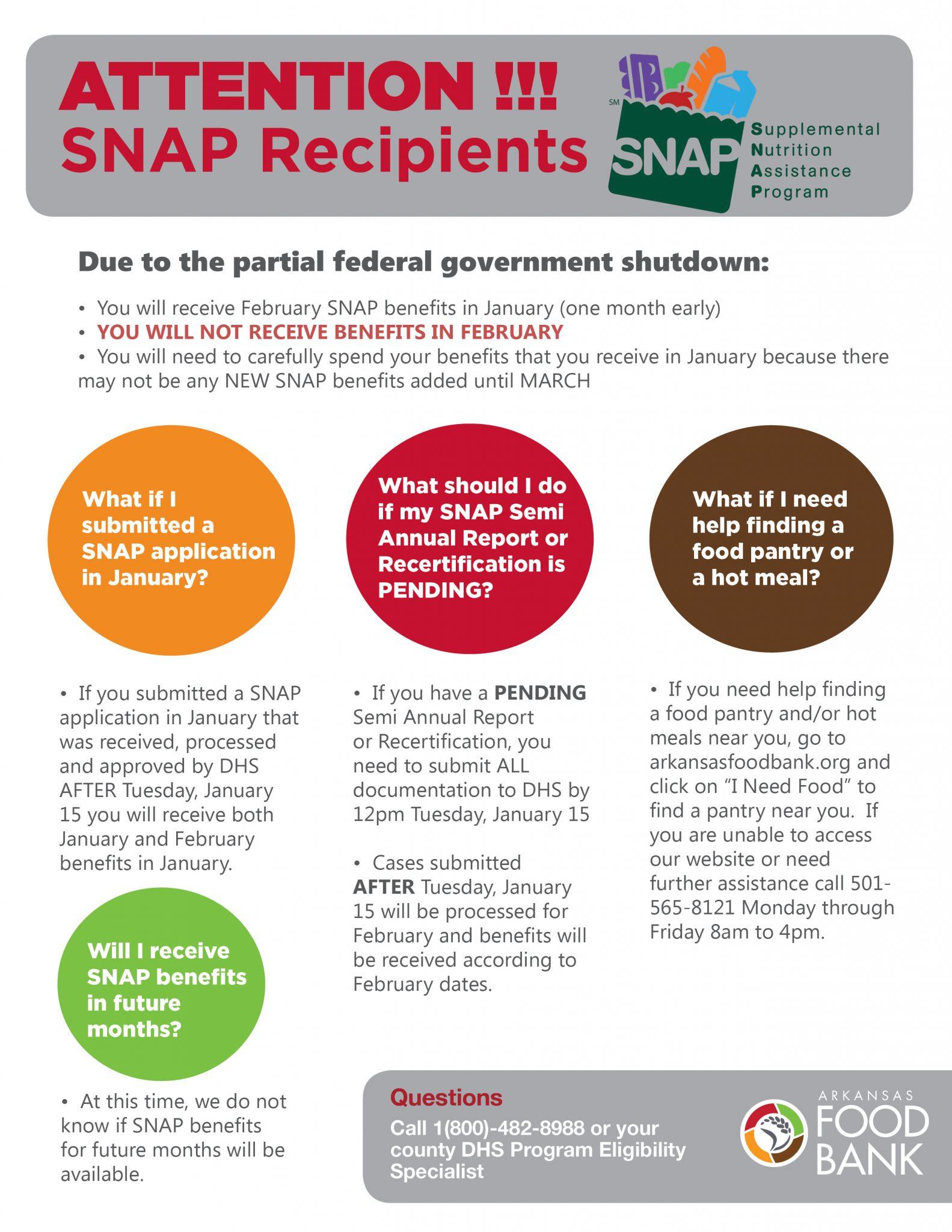 SNAP Government Shutdown Help Sheet 1 2019 - Arkansas Foodbank