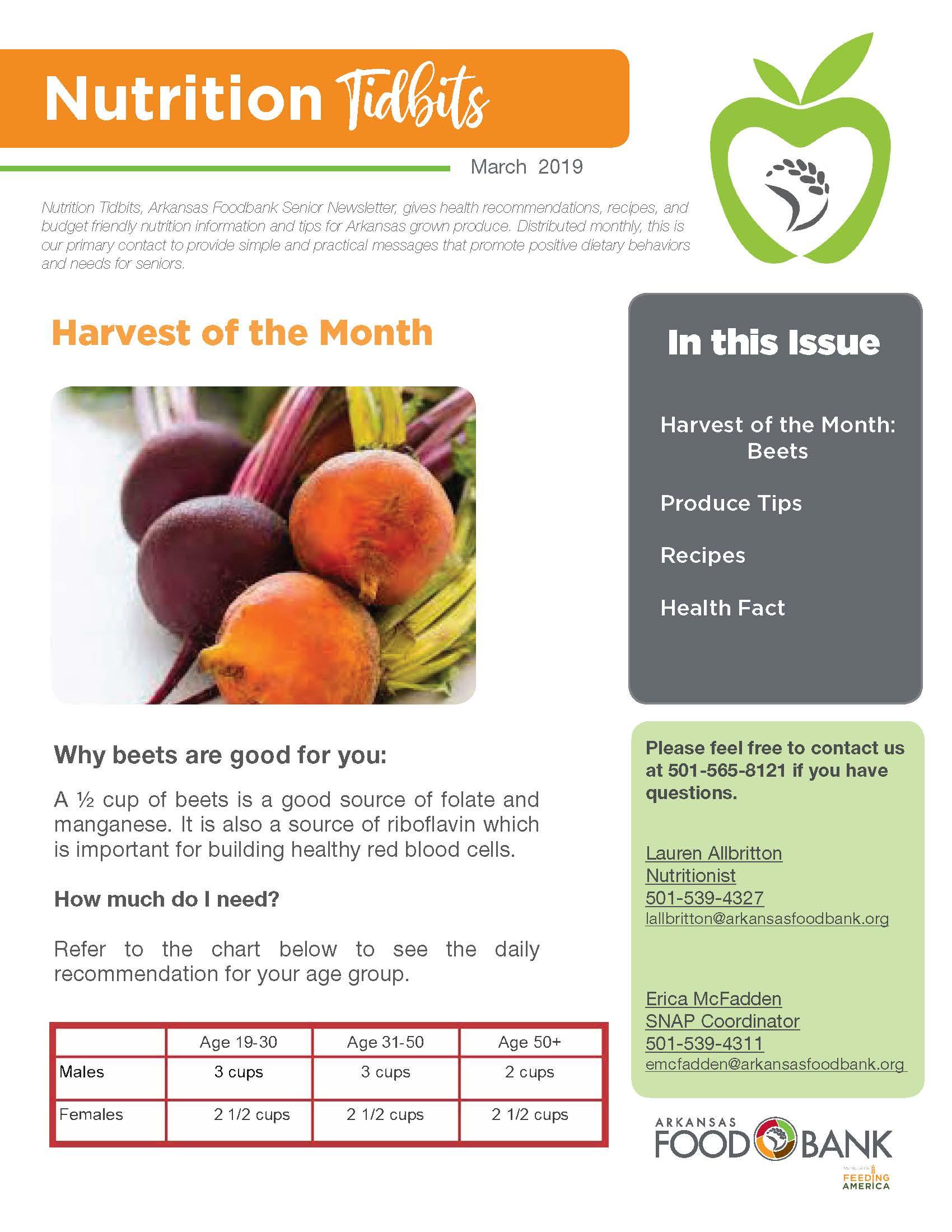 Nutrition Newsletter 3 19 Cover Arkansas Foodbank