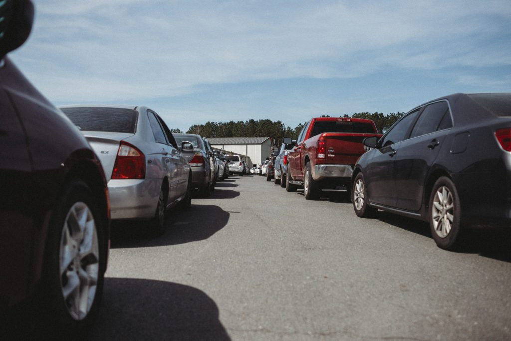 Cars Lined Up to Receive Food @ Mobile Distribution - 2020 Recap